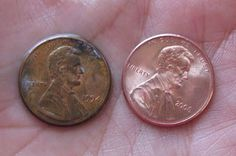 If you wash a penny with baking soda, vinegar and salt you can clean the penny to make it look just like new. (clean jewelry with baking soda) How To Clean Pennies, Penny Table, Pennies From Heaven, Floors And More, Keep Jewelry, Clean Jewelry, Clean Freak, Cleaning Hacks, Helpful Hints