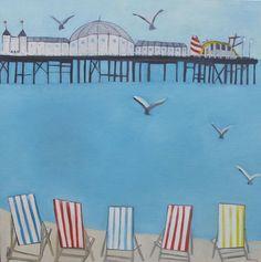 Katty McMurray - Deckchairs on the beach, oil on canvas