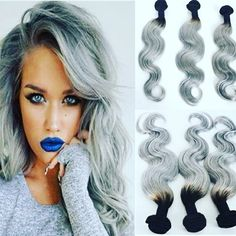 Malaysian ombre silver 1b/grey color human hair weave dark roots black hair weft gray hair extensions for sale