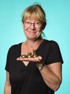Lottis Bergson hemmahörande i Stockholm hittade tre fina ljushållare i massiv mässing.