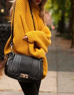 Rebecca Minkoff 'Endless Love Satchel'. + oversized, mustard yellow sweater + black pants