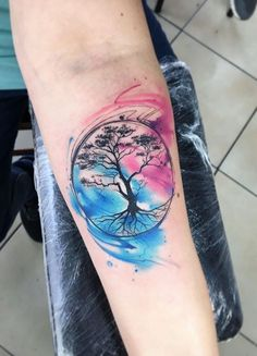 Watercolor Life Tree Tattoo