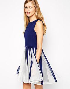Vestido plisado sin manga-azul 14.44