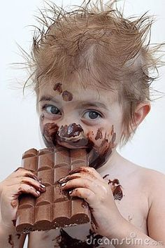 """I've found that things like chocolate tastes much better when you get it all over your face! Try it!"""