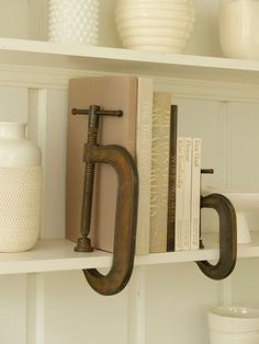 Clever bookends idea: Secure oversize C-clamps on a bookshelf to keep books standing upright and looking orderly.