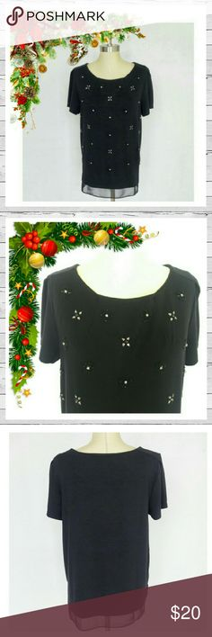 BHWM Shirttail Embellished Tee Sz L Super thick and soft Nylon/Spandex blend with beading and crystal embellishment. Perfect for the holidays! High quality. Excellent condition. Sorry no trades. White House Black Market Tops Tees - Short Sleeve