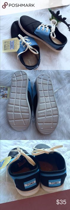 """🎉FINAL Toms Youth Black and blue Canvas Shoes Brand new, with tags, only tried one one. Black and blue Youth """"Paseo"""" by Toms. Toms Shoes Sneakers"""