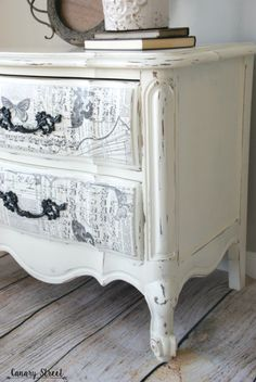 Black And White French Nightstand