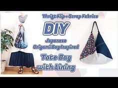 DIY Tote Bag Tutorial * THRIFT FLIP + Scrap Fabric Sewing Projects / リメイ...