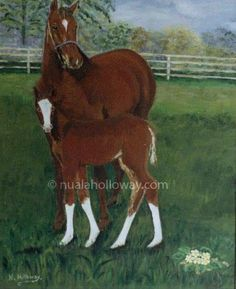 """Mare and Foal"" by Nuala Holloway - Oil on Board #IrishArt   #Horses #Mare #Foal"