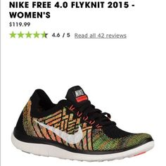 NEW PRICE Nike Free 4.0 Flyknit 2015 *WILLING TO NEGOTIATE PRICE*.              black with colorful accents, WORN ONCE, in GREAT condition! size 9.5 only selling because they are small on me! Nike Shoes Sneakers