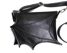 Black bat wing bag, Black Faux leather bat wing, Black leatherette bat wing bag, crossbody, black purse, vegan, goth bag, adjustable strap