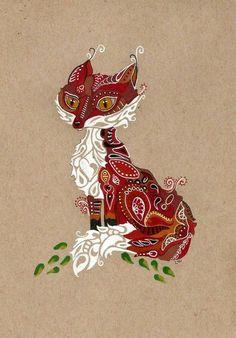 Doodle fox , but face of a cat