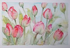 SOLD! DUCHY TULIPS original watercolour painting by by TheMinervaGallery