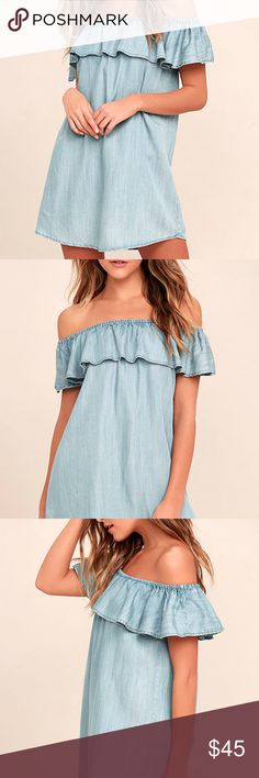 """Lulus Light Blue Chambray Off-the-Shoulder Dress Never worn! All it takes to win our hearts is an appearance in the Standout Style Light Blue Chambray Off-the-Shoulder Dress! A feminine ruffle lays below an elastic, off-the-shoulder neckline. Chambray shift silhouette ends in a gently rounded hem. Unlined. 100% Lyocell. Hand Wash Cold. Length: Mid-thigh. Size small measures 27"""" from top to bottom. undefined Dresses Mini"""