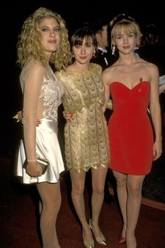 Tori Spelling, Shannen Doherty and Jenni Garth at the People's Choice Awards in 1992