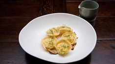 MasterChef - Prawn Mousse Tortellini in Broth - Recipe By: Chloe Carroll - Contestant Seafood Stew, Seafood Dishes, Pasta Dishes, Rice Dishes, I Love Food, A Food, Food And Drink, Tortellini, Masterchef Recipes