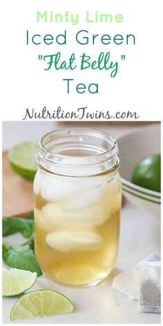 """Minty Lime Iced Green """"Flat Belly"""" Tea - The Nutrition Twins - Dekoration Sport Nutrition, Nutrition Sportive, Nutrition Education, Nutrition Tips, Fitness Nutrition, Health Tips, Holistic Nutrition, Nutrition Classes, Health Foods"""