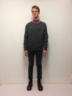 Vintage grey cable knit jumper. Click to buy!