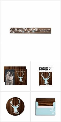 Rustic Deer Head and Snowflakes Christmas Set #countrychristmas