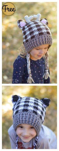 Plaid Woodland Animal Hats Free Crochet Pattern