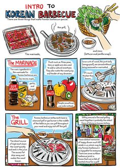 Robin Ha's Cook Korean! uses brightly colored illustrations to break down the process of making dishes like acorn jelly salad or kimchi stew. Recipe Drawing, Korean Street Food, South Korean Food, K Food, Korean Dessert, Korean Dishes, Fast Food, Learn Korean, Asian Cooking