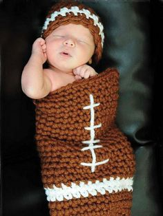 Football Set Crochet Pattern Download from e-PatternsCentral.com -- This cute hat and cocoon set is the perfect shower gift as well as a fun way to celebrate a game at home.