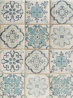 BATHROOM - Handpainted tiles - Duquesa Lisbon Pattern is a blend of five different Portuguese inspired patterns in traditional blue tones. Mosaic Tiles, Wall Tiles, Tiling, Tile Design, Pattern Design, Portuguese Tiles, Stone Tiles, Tile Patterns, Decoration