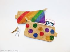 DIY Glittery Rainbow Painted Clutches