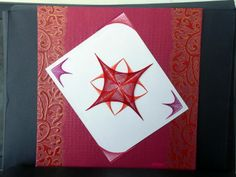 Embroidered card - Geometrical design.