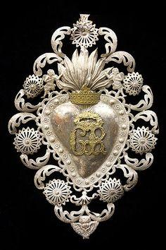 Italian Antique Silverplated Sacred Heart Ex-Voto