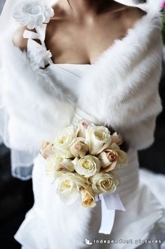 Seasonal wedding flowers in Italy: Calla Lilies, Peonies, Lily of the Valley. all seasons has different flowers to offer for a wonderful wedding. Winter Wedding Fur, Winter Bride, Winter Wonderland Wedding, Church Wedding Flowers, Cheap Wedding Flowers, Bridal Bolero, Bridal Cape, Bridal Shrugs, Vintage Fur