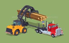Logs Loading on Truck by Andrew_Rybalko Logs loading on truck. 3D lowpoly isometric vector concept illustration