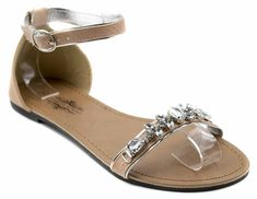 Charles Albert Women's Chic Gemstone Flat Sandal with Ankle Strap ** Find out more about the great product at the image link.