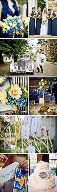 Navy + Yellow Wedding with Vintage Details