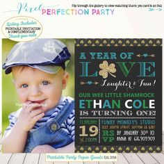 St. Patrick's Day Birthday Invitation Wee by PixelPerfectionParty