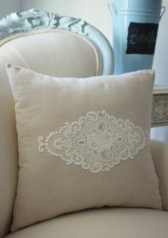 Vintage French cutwork embroidery pillow w/cream by VictoriaHayden, $40.00 I could probably figure this out for myself for WAY less than 40 buckaroonies