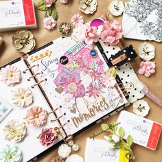 """""""April Monthly Vision Board inside my Breathe planner. I've used Color Philosophy Flamingo to paint the Prima Princess stamp's hair, Color Philosophy Sassy Rouge for the flowers, Color Philosophy Wasabi and Enchanted Woods for the leaves and lots of Prima Flowers for decorations."""" ~ Andressa (plannersandflowers) #myprimaplanner #primaprincess"""