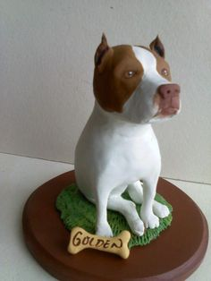 Perros Pit Bull, Plaster Crafts, Dog Cake Topper, Puppy Cake, Clay Figurine, Happy Art, Clay Animals, Polymer Clay Crafts, Pet Memorials