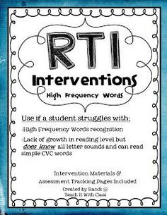 Teach it With Class: RtI Interventions-letters, letter sounds, high frequency words Intervention Specialist, Response To Intervention, Reading Specialist, Reading Intervention, Reading Assessment, High Frequency Words, Teaching Reading, Guided Reading, Teaching Ideas