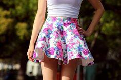 Floral girly mini skirt ...