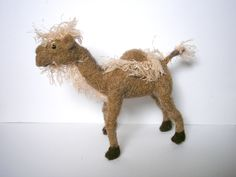 OOAk Hand crafted needle felted brown Camel doll toy miniature from lamb wool by badgestuff on Etsy