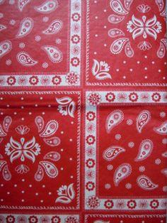 52x70-Oblong-Vinyl-Flannelback-Tablecloth-Summer-Red-BandanaHandkerchief-Paisley