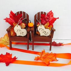 Fall Chair Cake Toppers-Fall Wedding Cake by NauticalWeddings
