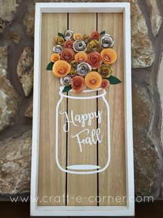 Fall Project: 3D Paper Flowers + Vinyl Mason Jar (free design file too!)
