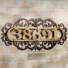 LaRoyal Gold Metal House Number Address Plaque