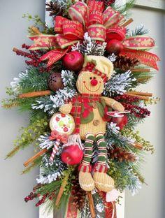TIMELESS~GINGERBREAD CINNAMON SWAG~BOY~WREATH ALTERNATIVE~HOLIDAY~CHRISTMAS