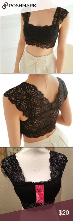 "Black lace crop top/bralette Really pretty black lace crop top/bralette with cups inside. See through on back but covered on chest area. These are one size fits all, and I would say they can accommodate a 34 band size or smaller. Laying flat the measurement is 14."" Sooo pretty!! Tops Crop Tops"