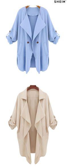 Beige Long Sleeve Casual Loose Pockets Coat