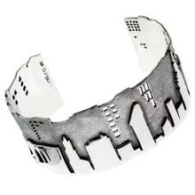 City Skyline Sterling Silver Bracelet - $550 The New York City skyline has been lovingly crafted in textured sterling silver to create this stunning bracelet. Created by New York jewelry designer Cynthia Gale for the New-York Historical Society, the bracelet is a statement piece of the Museum's new jewelry collection titled The City that Never Sleeps.